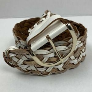 Express Womens Small White Belt Leather Gold Woven